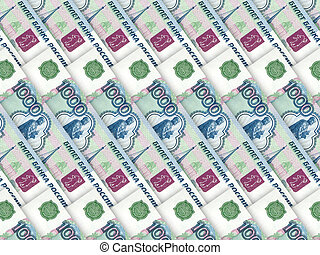 Background of money pile 1000 russian rouble