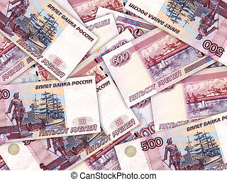 Abstract background of money pile 500 russian rouble bills. Studio photography.