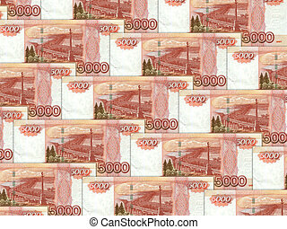 Background of money pile 5000 russian rouble