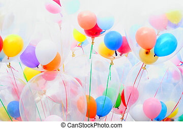 Background of motley balloons. Close-up. Outdoor photography.