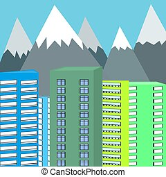 Background of mountains and skyscrapers vector illustration