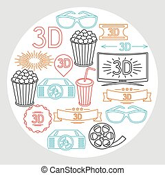 Background of movie elements and cinema icons