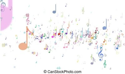 Background of musical notes. Multicolored notes -...