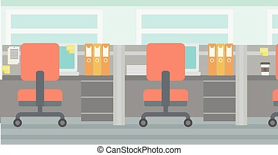 Background of empty workplaces separated by partition vector flat design illustration. Horizontal layout.