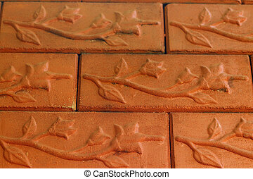 Background of old red bricks.