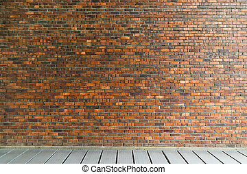 vintage brick wall with floor