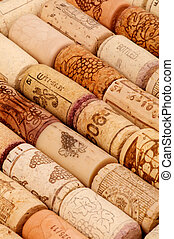 Background of Old Wine Corks in a Row closeup