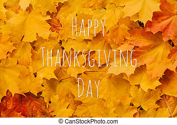Background of orange maple leaves with a congratulatory inscription Happy Thanksgiving Day