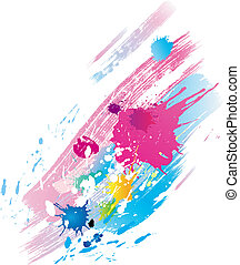 Background of paint splashes and line brushes