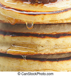 background of pancakes and honey
