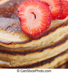 background of pancakes and strawberry