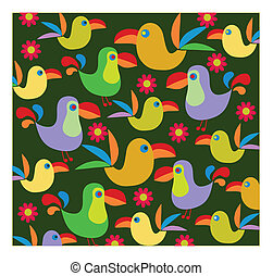 background of pelican  birds and flowers