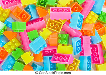 Background of plastic brick toys - Background of colorful...