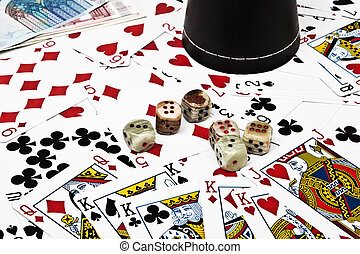 background of playing cards and dices