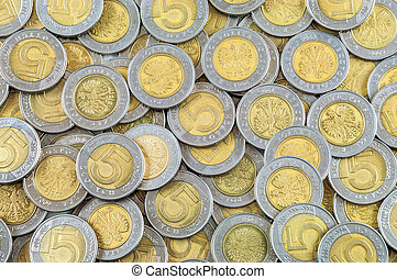 Background of polish coins