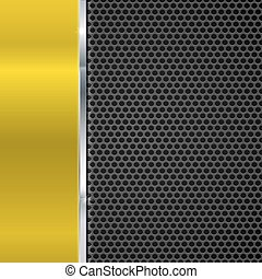 Background of polished red metal and black metal mesh with polished metal strip. Technological background for garages, auto shops and just creativity