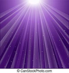 background of purple luminous rays with stars