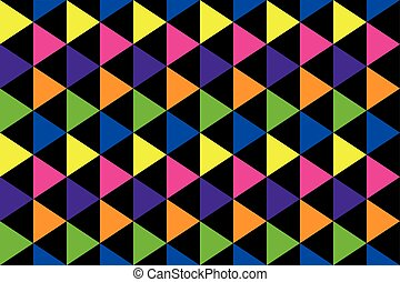 background of rainbow colored triangles in yellow, orange,...