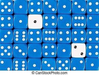 Background of random ordered blue dices with two white cubes