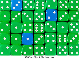Background of random ordered green dices with three blue cubes