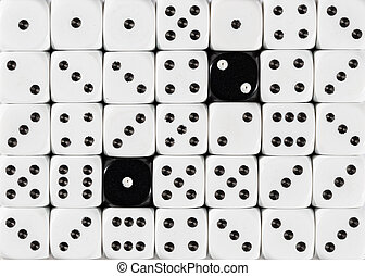 Background of random ordered white dices with two black cubes