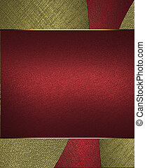 Background of red and gold texture with a sign for the label