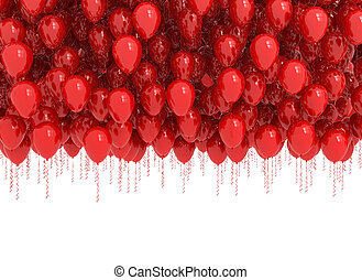 Background of red balloons isolated on white