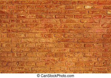 Background of red brick wall textur