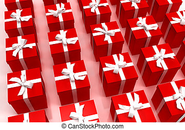 Background of red giftboxes