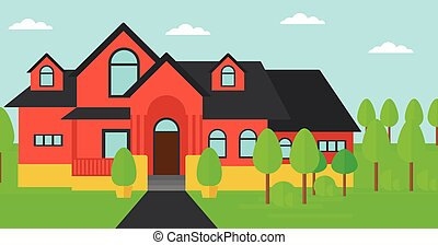 Background of red house with beautiful landscape and pathway vector flat design illustration. Horizontal layout.