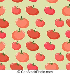 Background of red tomatoes. Vector seamless pattern of vegetables. Vector texture