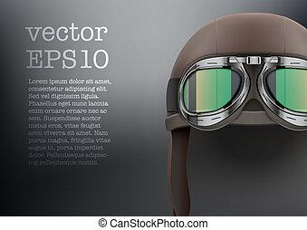 Background of Retro aviator pilot helmet with goggles. -...
