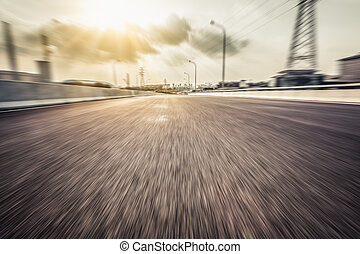 background of road and sky,motion blur