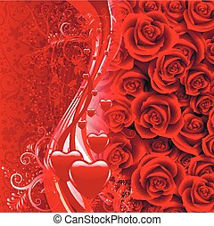 background of roses and hearts - Background with red roses....