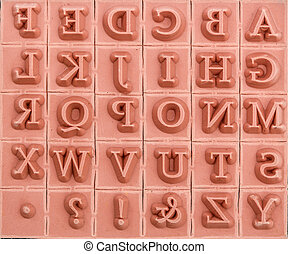 Background of rubber stamps of the English alphabetical