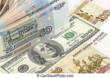 Background of Russian and American banknotes