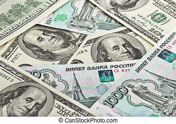 Background of Russian rubles and US dollars