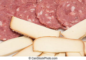 background of sausage with cheese