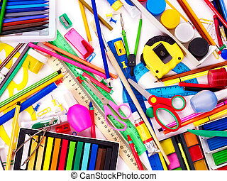 Background of school supplies. - Background of group school...