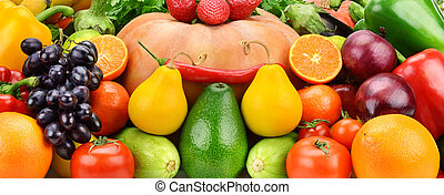 Background of set fruits and vegetables
