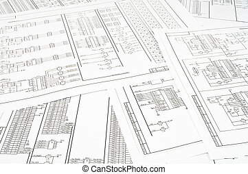 Background of several electrical circuits printed on paper