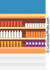 Background of shelves in supermarket with toiletry.