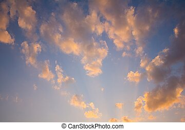 background of sky with orange clouds in the evening.