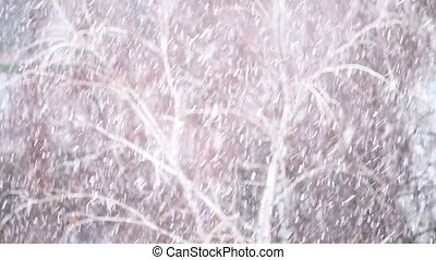 Background of snow fall blowing fast in winter blizzard