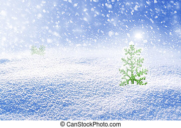 Background of snow. Winter landscape. Christmas tree.