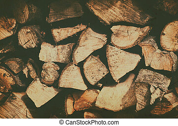 Background of stacked firewood