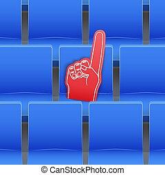 Background of stadium seats and fan foam finger