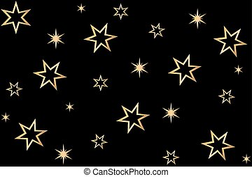 background of stars in gold on black