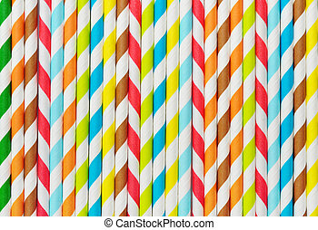 Background of Striped  drink straws in different colors