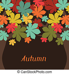 Background of stylized autumn trees for greeting card.